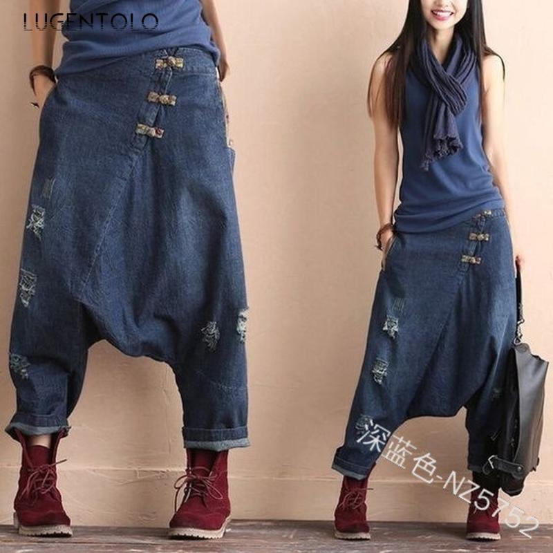 Lugentolo Cross Jeans Woman Summer Loose Low Waist Irregular Fashion Hole Button Streetwear Womens Jeans