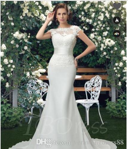 Plus size abito in pizzo DressesBateau Tromba Mermaid Corte / treno abito da sposa