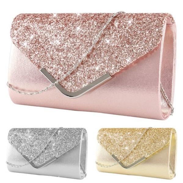 Women/'s Sparkly  Clutch Bag Black Crystal Satin Evening Party Wedding Handbag