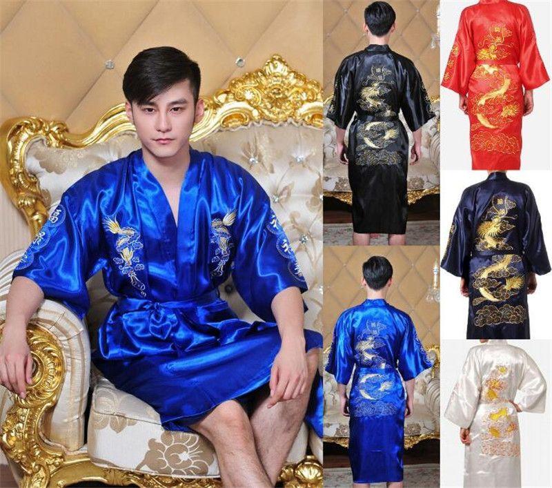 Toptan Yeni Varış Çinli erkek Saten Polyester Nakış Robe Kimono Gecelik Ejderha Pijama M L XL XXL 3XL Mavi Siyah