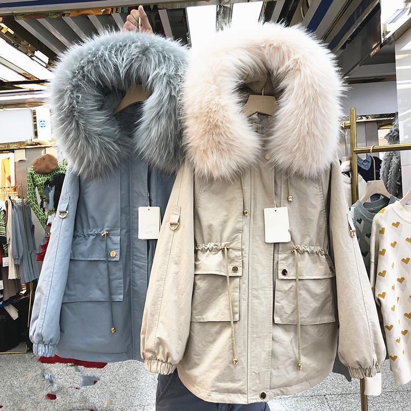 Neue Herbst-Winter-Mittellang Loose Women Parkas Thick Wool Liner warm halten Studenten wattierte Jacken weiblich Cotton-padded Mantel
