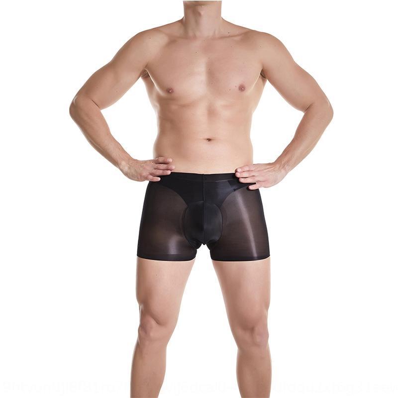 hoq9y Qinghe soie grasse pantalon boxeur transparent sexy sans trace de sous-vêtements bas bas de soie hommes été invisible élasticité élevée U ba