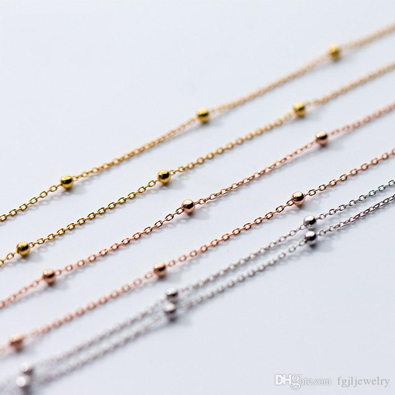 Simple Stylish White Small Beads Chokers Chain Choker Pendant Necklace Golden Charm Jewelry gold necklace designs for women