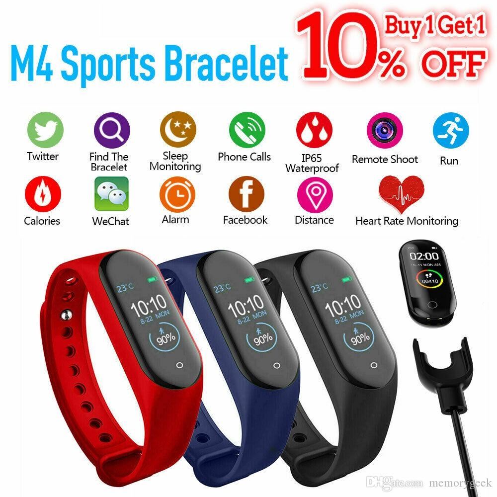 M4 Smart Bracelet Heart Rate Blood Pressure Tracker IP67 Waterproof Bluetooth 0.96 inch Wristband Smartband Health Monitor PK Mi Band 4