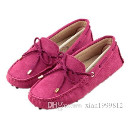 New Ladies Pink Real Leather Suede Fur Slip On Moccasin Slippers Loafers Shoes