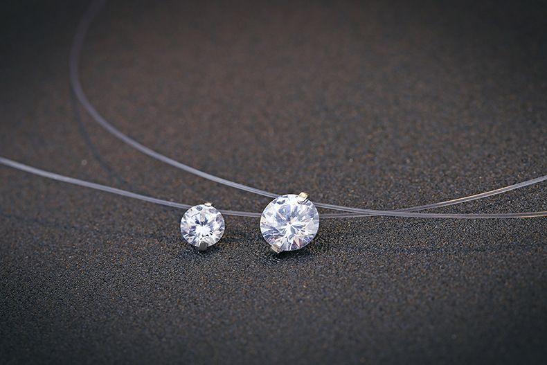 Design de mode de pêche invisible fil pierre collier pendentif 925 cz Zirconium Argent Sterling ligne Transparent pêche Fil Choker Pendentif