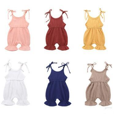 Baby Little Girl Floral Sleeveless Ruffle Romper Bowknot Sling Jumpsuit Summer Clothes
