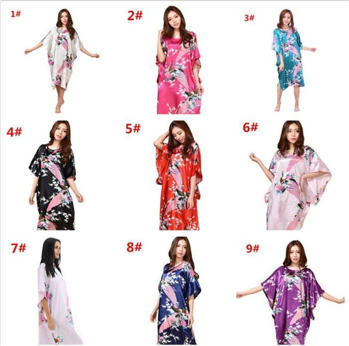 50pcs 13colors Sexy Silk Nightgown Dress Elegant Women Butterfly Sleeves Silk Sleepwear Robe Casual Nightwear M030