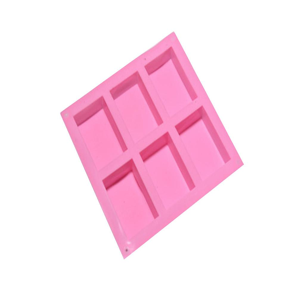 6 Cavity Plain Rectangle Soap Mold Silicone Crafts DIY Making Homemade Cake Tool