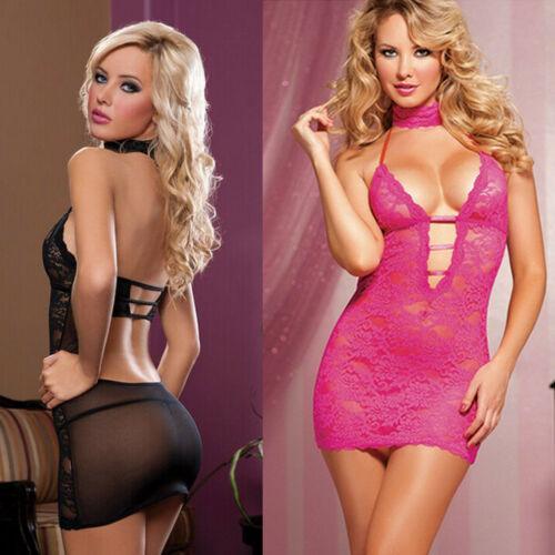 3pcs NEW Women's Sexy Lingerie Babydolls Exotic Hot Sleepwear Underwear Lace Floral Backless BLACK Female sexy Dress Summer Set