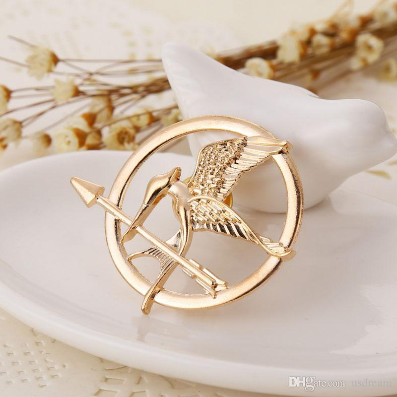 The Hunger Games Brooches Inspired Mockingjay And Arrow Brooch Pins Silver gold Bronze bird badge for women men Jewelry
