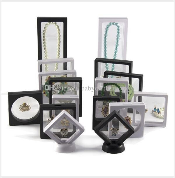Shadow Box clara 3D caja de la joyería flotante marco de la pantalla con un sostenedor del soporte colgante de collar de anillos Cajas de casos Monedas Medallas de presentación