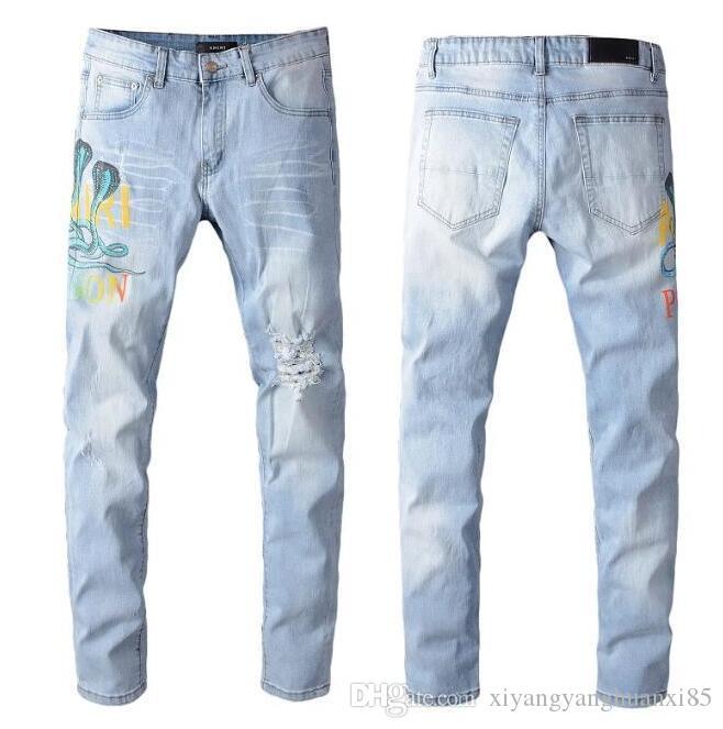 Melhores alta qualidade Homens Buracos Jeans Moda Casual Buracos Zipper Jeans Skinny motociclista Denim Calças Calças compridas 2901