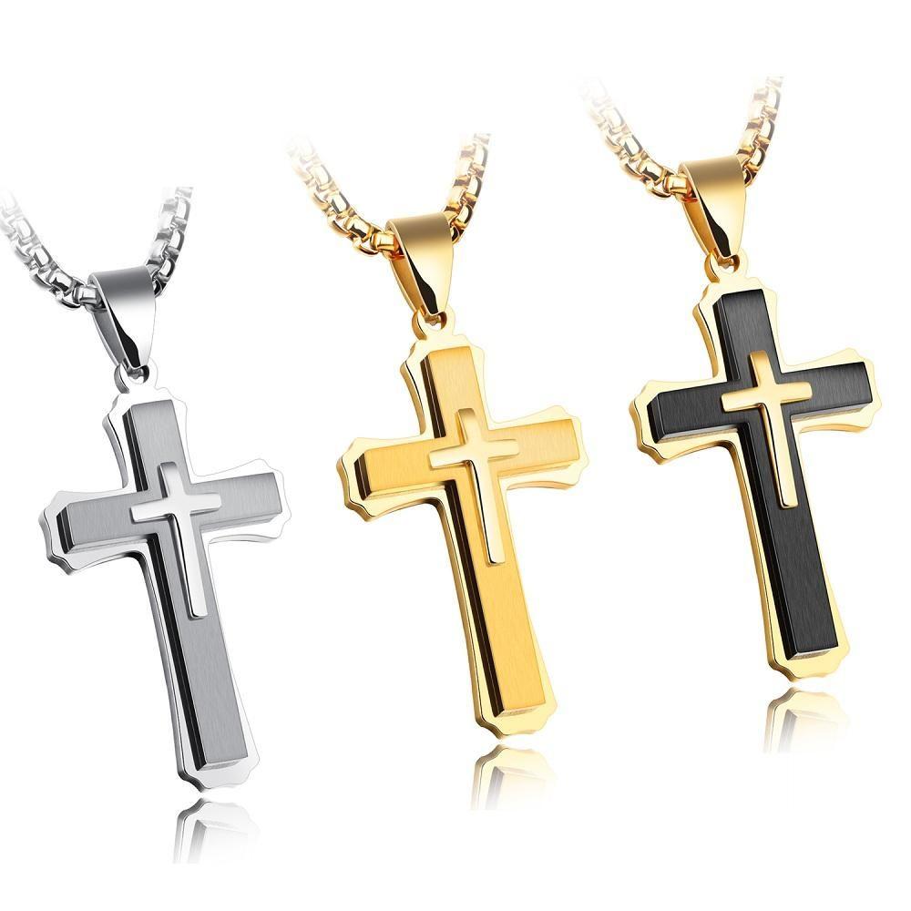 Accesorios de moda punk de rock de tres capas crucifijo de titanio de acero de los hombres colgante de collar de la creencia religiosa pura negrita con la cadena