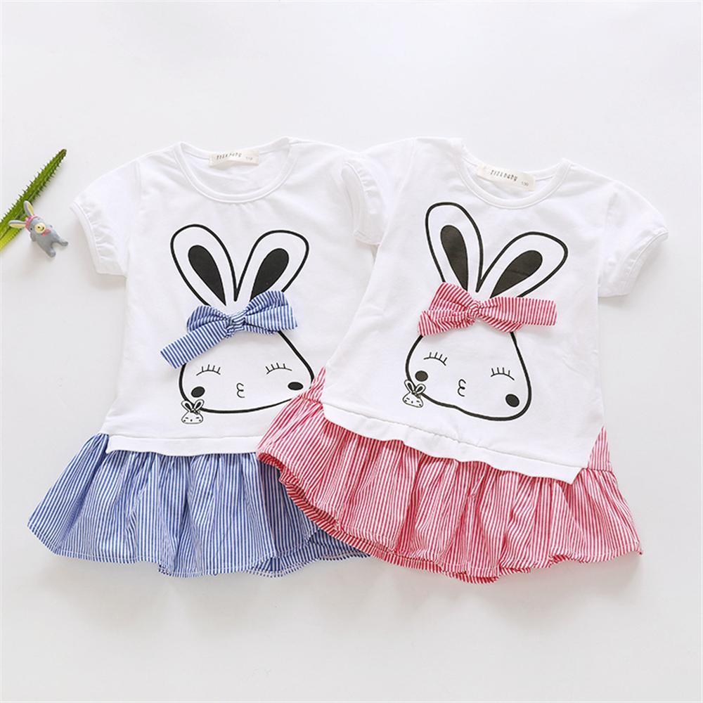 Le ragazze vestono estate del coniglio del fumetto per bambini Abiti per 2 3 4 5 6 anni Ragazze 2019 Nuovo cotone casual bambini principessa Abbigliamento