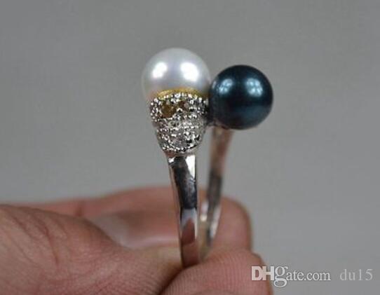 Mulheres Presente palavra Amor Velho Collectible Mio Prata Inly Perl Hndwork Azul nd Branco Perl Anel pérola mulheres prata-jóias