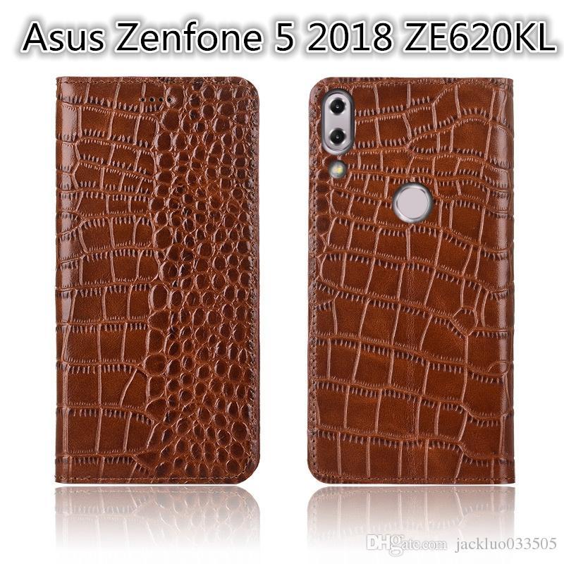 Asus Zenfone 5 2018 için Ultra Ince Telefon Kılıfı ZE620KL Asus Zenfone 5 2018 Için Hakiki Deri Lüks Kılıf Kart Yuvası Ile ZE620KL Flip Case