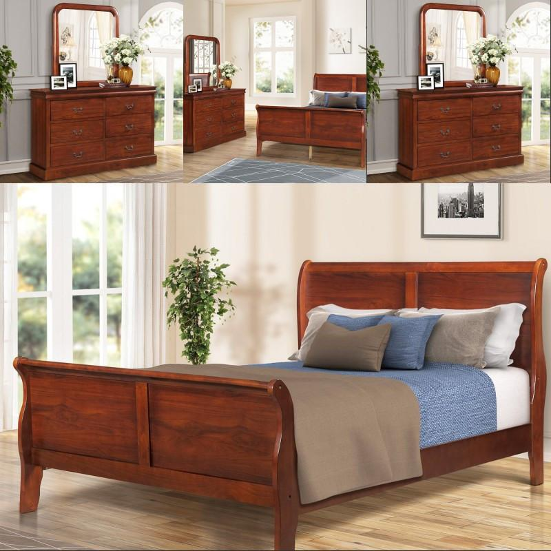 2019 US Fast Shipping ORIS FUR Bedroom Furniture Set Queen Size Bed Dresser  Mirror Nightstand Oak Finish Dresser From Greatfurnishing, $358.37 | ...