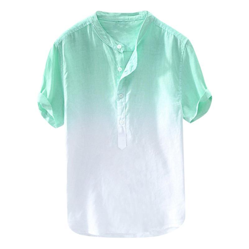 Faded Color Buttons Shirt Men Summer Cool Breathable Dyed Gradient Cotton Shirt Short Sleeve Comfortable Material G3