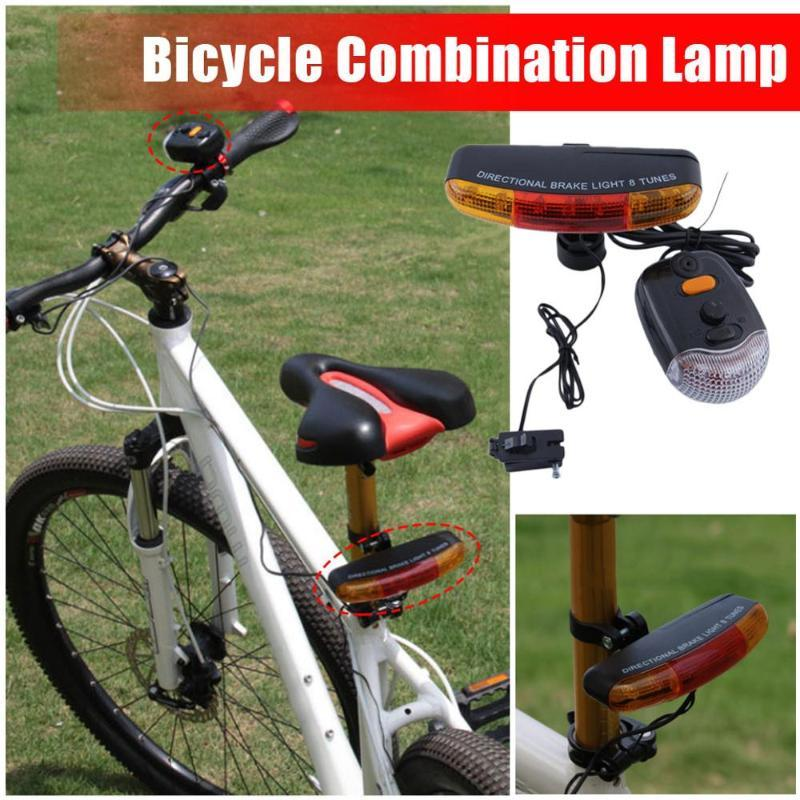 7 Led Multi-Function Bicycle Turn Signal / Bicycle Tail Light Electric Horn Brake Light 8 Sound Horn Fixing Bracket Set