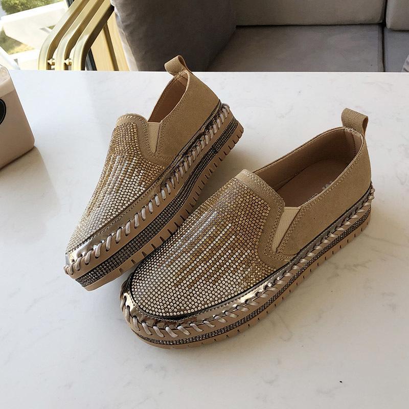 Dedo del pie redondo de la PU de zapatos planos de las mujeres ocasionales del slip zapatillas de deporte de las mujeres planas de goma de las señoras de los holgazanes de los zapatos del cristal zapatos de las mujeres del otoño del resorte