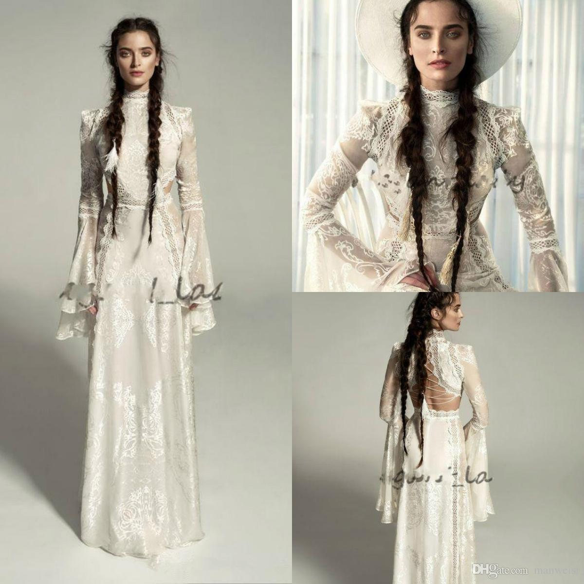 Meital Zano 2019 Medieval Wedding Dresses with Bell Long Sleeves Vintage Crochet Lace High Neck Gothic Queen Bridal Wedding Gowns