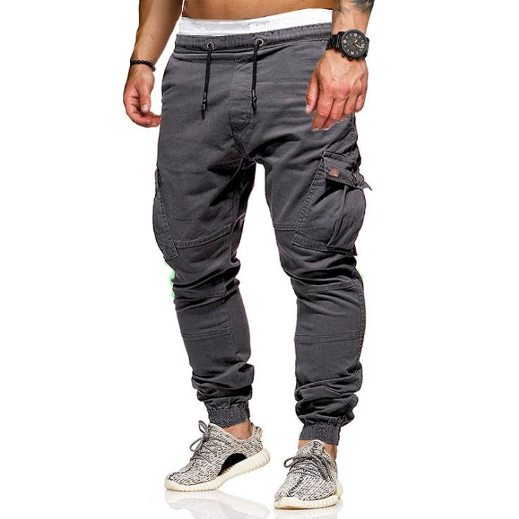 Uomini del cotone multi tasca cargo pantaloni casual pantaloni da jogging solido pantaloni da uomo pantaloni urbano tattica di combattimento