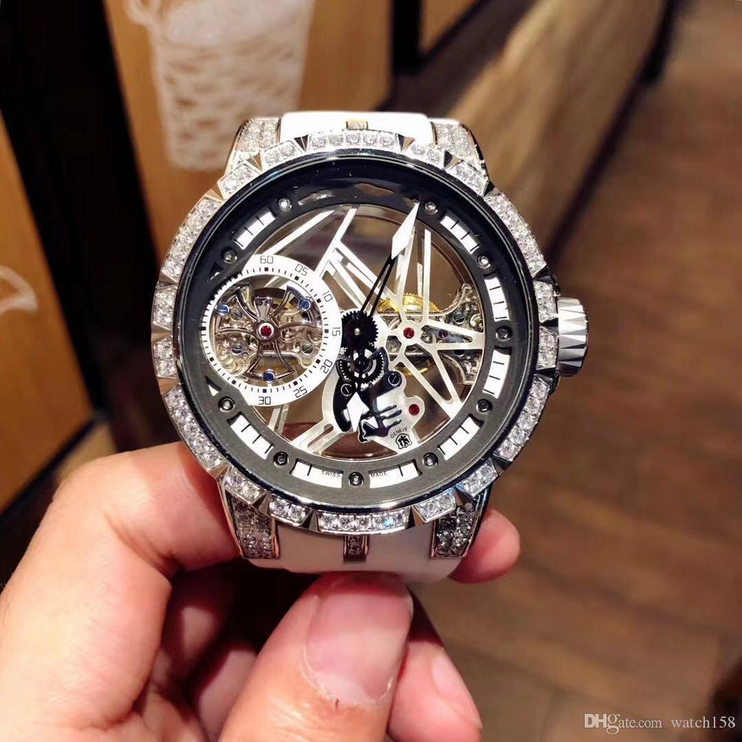 Hommes 42mm mouvement creux de sport de luxe de la mode montre mécanique automatique, lumineux avec montre mécanique automatique sans frais de port de diamant