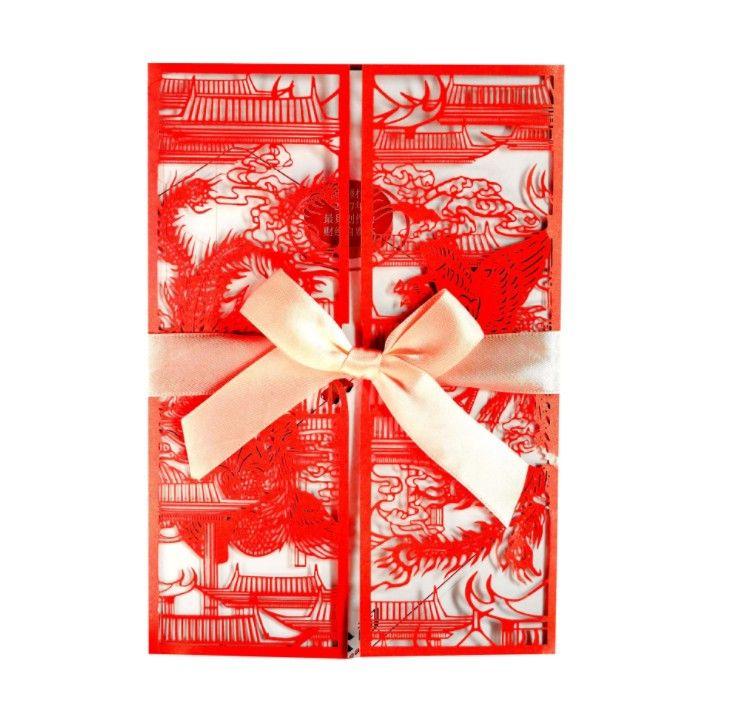 Carte di inviti per inviti di nozze di Dragon Phoenix in stile cinese Biglietto di auguri per matrimonio con taglio laser rosso