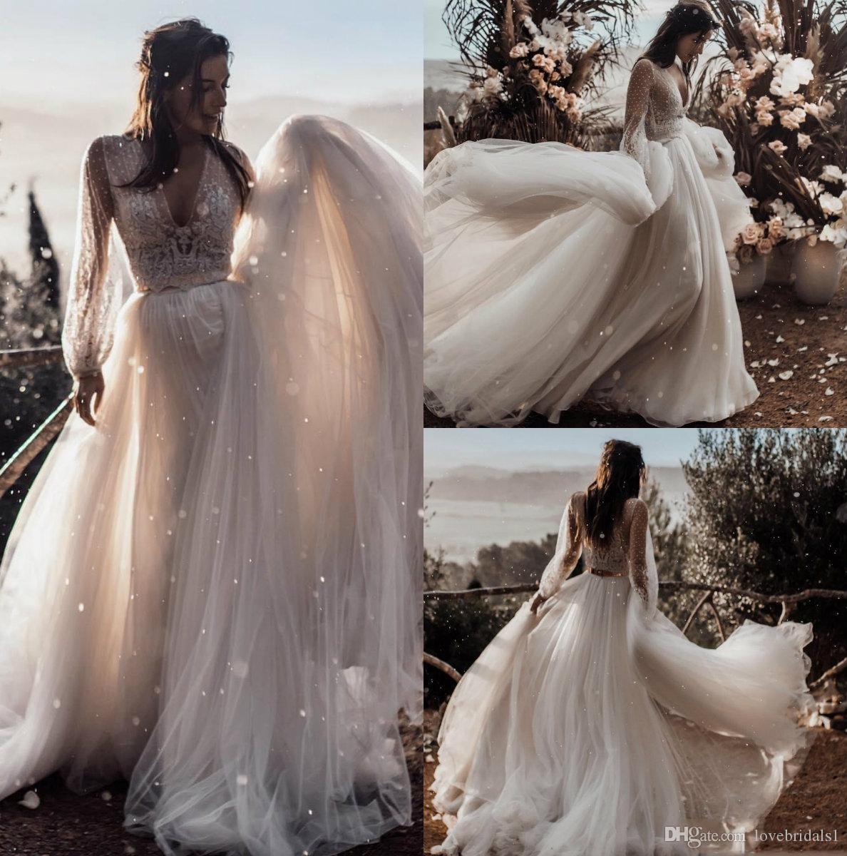 Robes de mariée sur la plage 2019 Charmante Deux Pièce LAce Manches Longues Tulle Etage Longueur Plus Grande taille Robes De Mariée 2019 Pas Cher