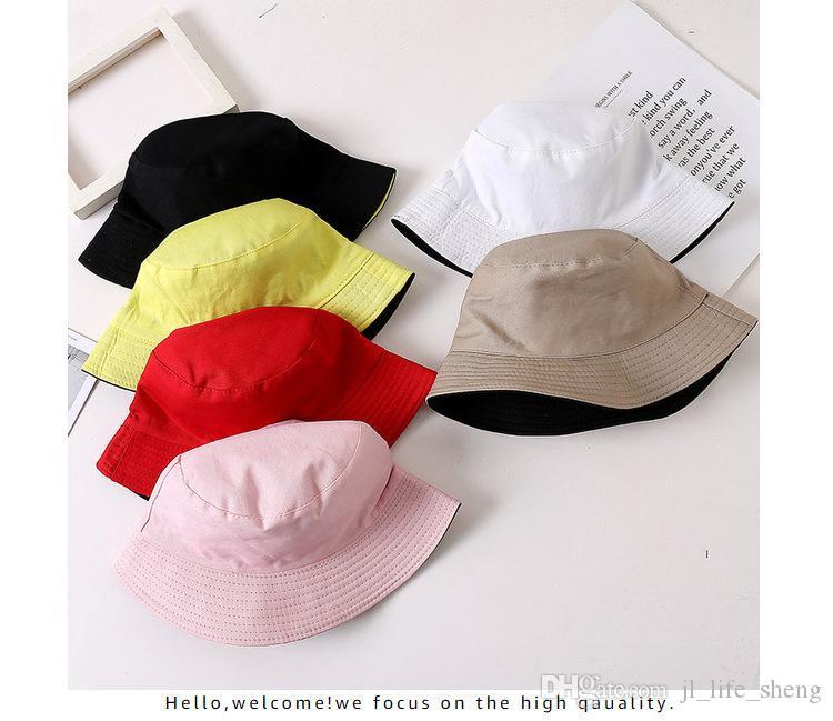 2019 Nueva doble cara Shade Pescador moda del sombrero cuenca del color sólido del casquillo unisex de algodón versátil Cap