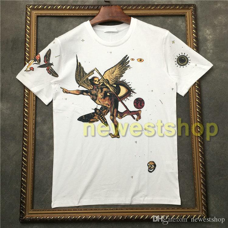 2020 Sıcak Marka etiketi giyim erkek Şeytan kafatası baskılı t gömlek Tasarımcı t shirt Camiseta tee üstleri tshirt kısa kollu t shirt kaliteli