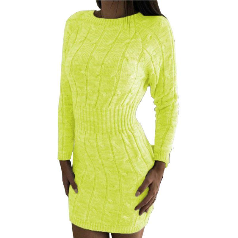 HEE GRAND Women Knitted Dress Sheath Tight Pull Femme Robe Sueter Vestido Mujer Invierno 2019 Thick Twist Sweater Dress WZQ301