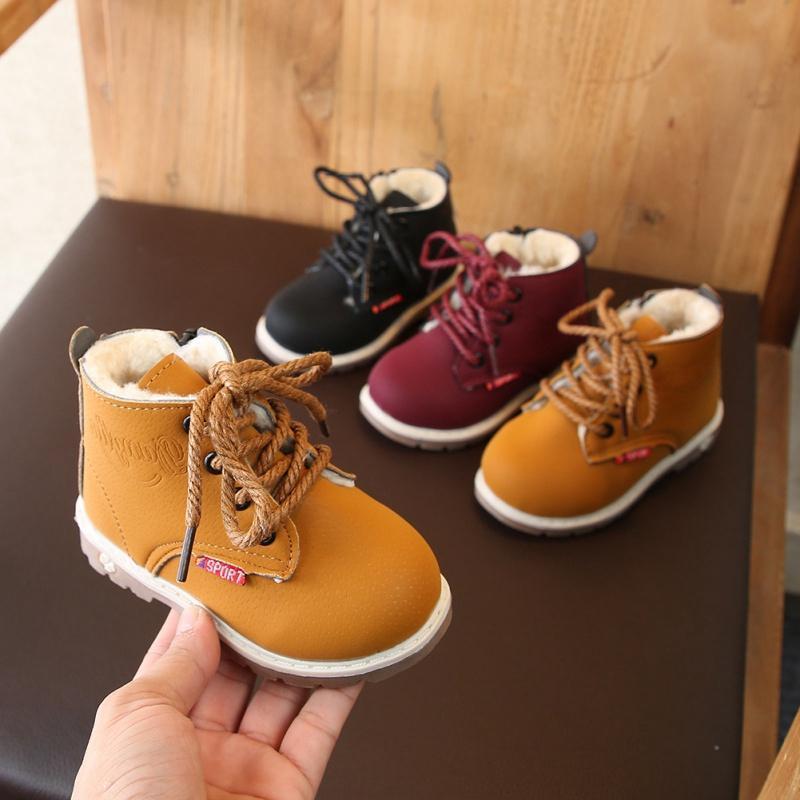 키즈 아기 겨울 미끄럼 방지 야외 부트 어린이 캐주얼 플러스 벨벳 신발 가죽 부츠 시간 동안 아기 소년 레이스 업 지퍼 신발