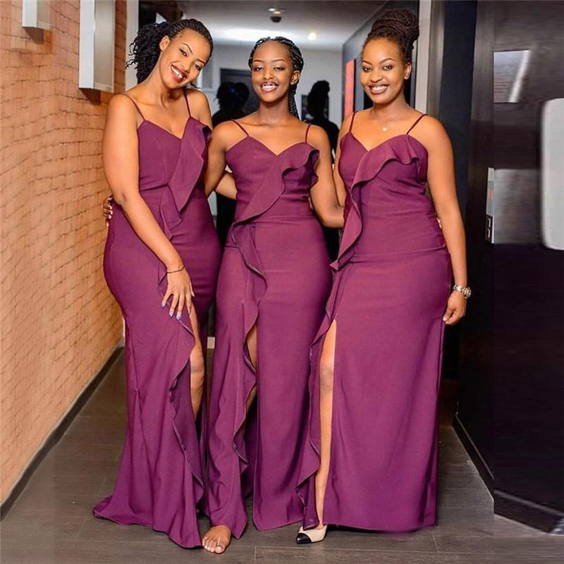 Élégantes filles nigérianes Mermaid Robes d'honneur de demoiselle d'honneur 2020 Ruffles Derniers volants Front Split Strap Spaghetti Longue Maid de femme d'honneur Robes d'honneur pas cher BM1915