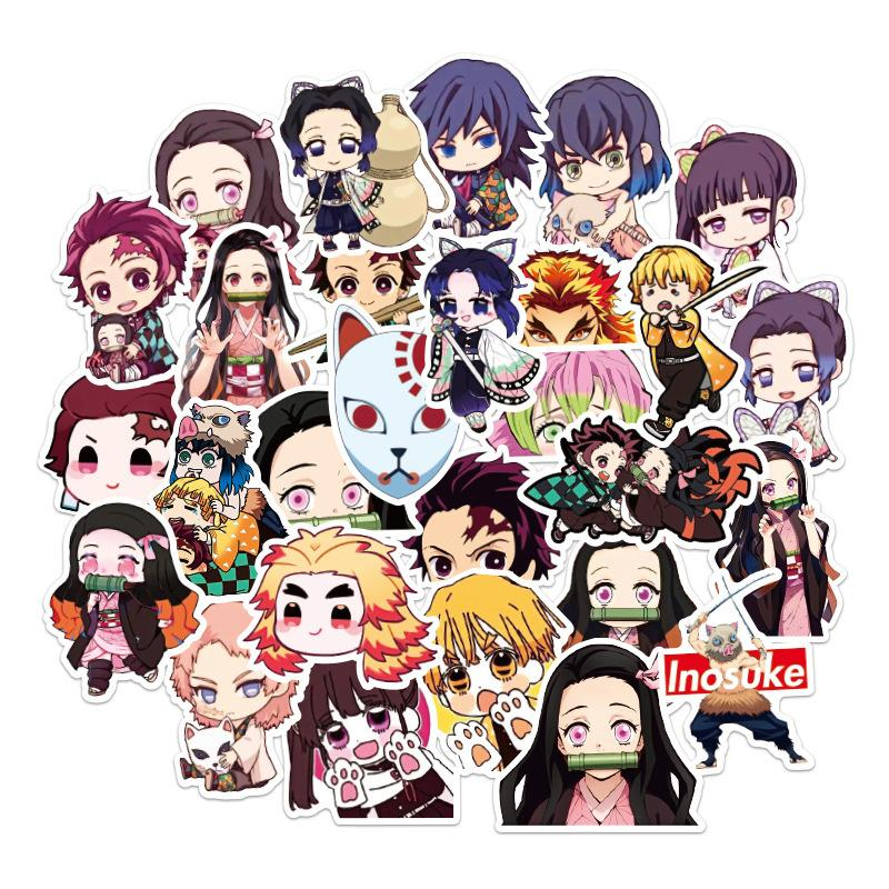 50 PCS Kimetsu no Yaiba/Demon Slayer new anime waterproof sticker gift for Graffiti on Travel case Laptop Skateboard Guitar Fridge
