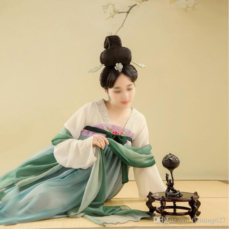 Hochwertiges Orientalisches Thema Frauen Antike Foto Kleid Hanfu Ruqun Anzüge hohe Taille Brust Länge China Japan Hanfu Kleid