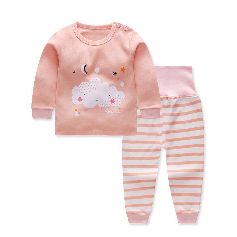 CYSINCOS 2020 العلامة التجارية الجديدة البيجامة كسوة تعيين طفل رضيع ملابس كيد القطن كم طويل موضة القرد الكرتون بيجامات للبنات