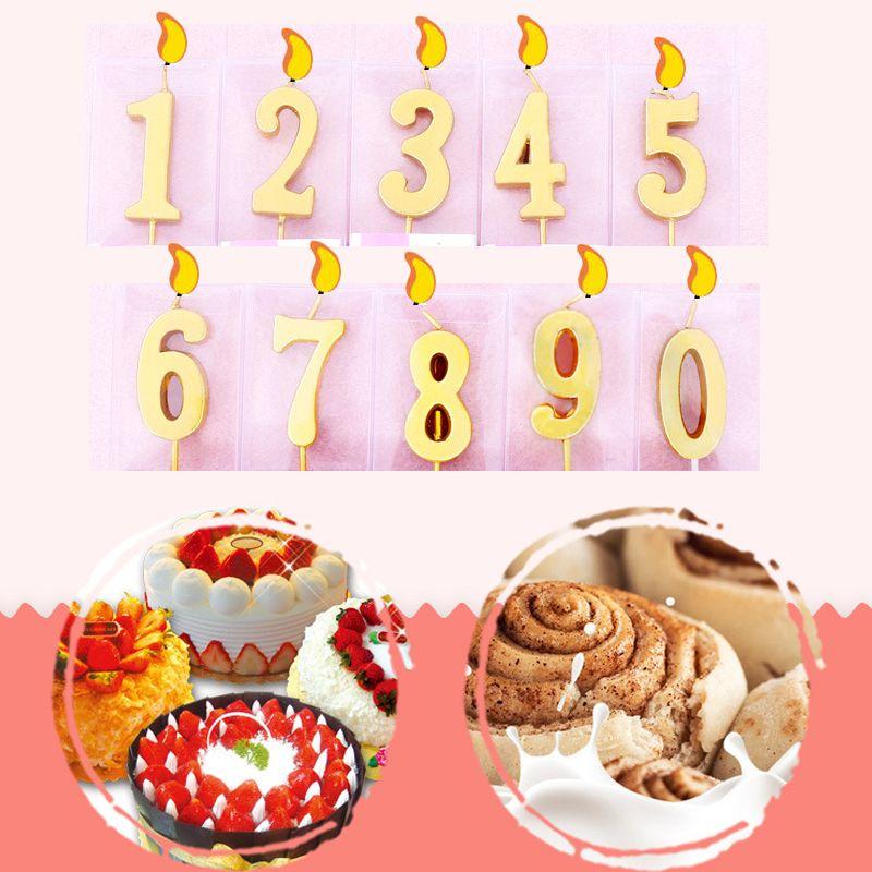 Numeri 0/1/2/3/4/5/6/7/8/9 Compleanno Candele di cera per la festa Cake toppers Decorazioni Fai da te artigianale dorato / slivery