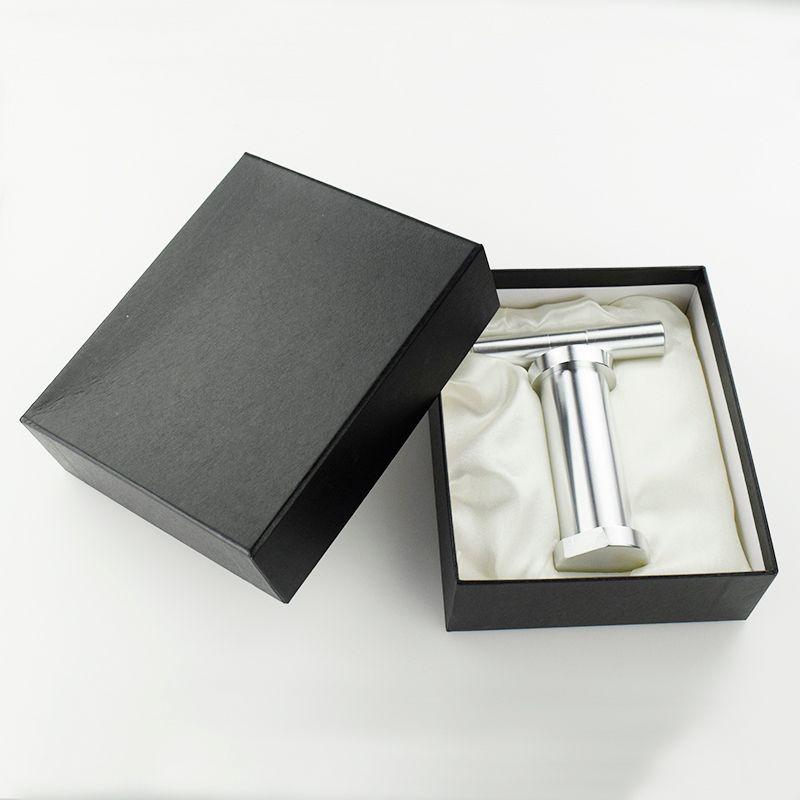 """5.5"""" polen de hierbas Grande Pulse Presser color plata del metal del tabaco para fumar tabaco Compresor con caja de regalo"""