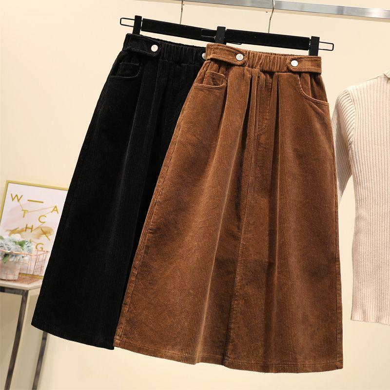 Lucyever más el tamaño de las mujeres falda de pana Otoño Invierno de la vendimia de Harajuku suelta una línea femenina falda larga de talle alto Señora Faldas 5XL
