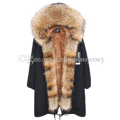 X-Long Removable velvet furs Liner parkas with Real Raccoon fur collar and placket over the knee length jacket fit for women or men