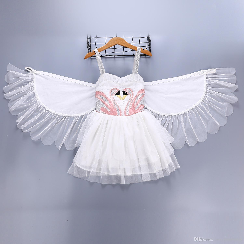 小売赤ちゃん女の子バプテスマ陳礁洗い流されたドレス白鳥の翼天使フラミンゴサスペンダーベストプリンセスドレスブティックキッズデザイナーガールズドレス