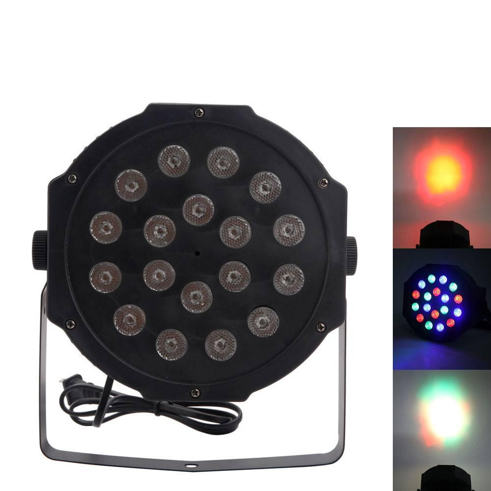 30W 18pcs RGB LED Par Light Auto Voice Control DMX512 High Brightness Mini Stage Lamp AC 110-240V Black