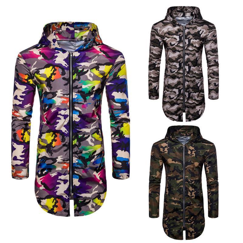 Nuovo cappotto di modo degli uomini camuffamento incappucciato lungo taglio Zipper rivestimento casuale manica lunga Dimensione M-XXL
