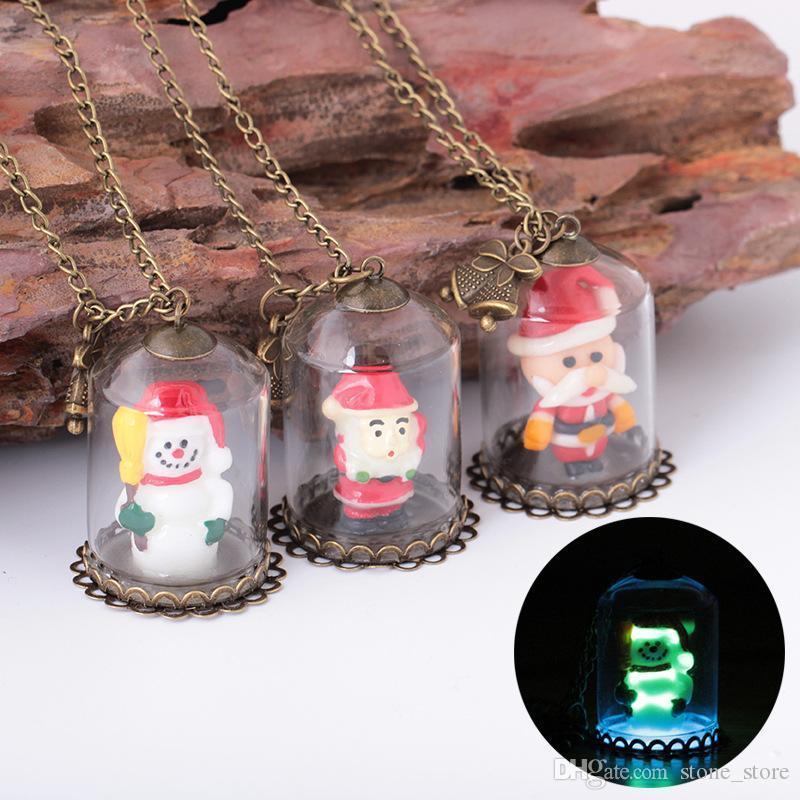 Babbo Natale copertura in vetro a mano luminosa collana pendente pupazzo creativa incandescente serie ingrosso di gioielli di Natale