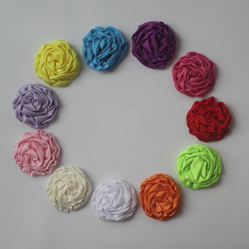 20шт атласная ткань рулонный цветок с подкладкой Аллигатор клип для девочек, девушка зажим для волос цветок, diy ремесло цветочные принадлежности