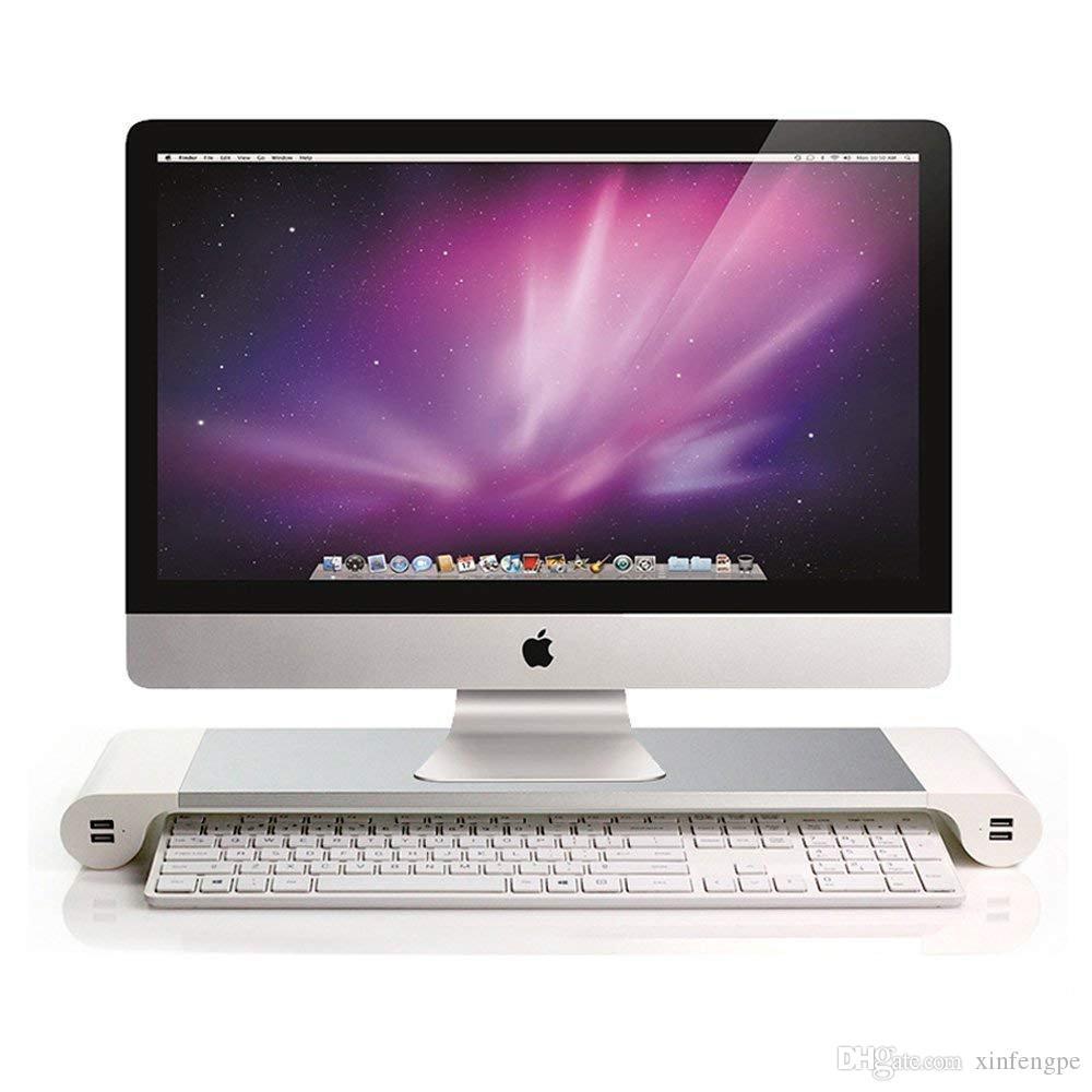 حامل الشاشة - شريط المسافة - حامل محطة الإرساء - حامل الشاشة مزود بـ 4 منافذ USB منفذ لوحة الوصل ومساحة تخزين لوحة المفاتيح