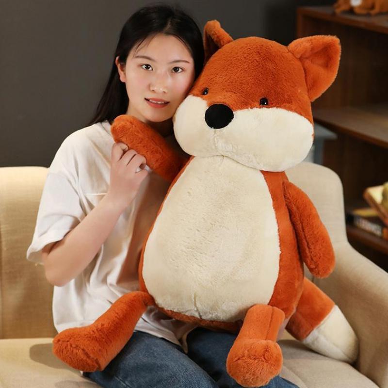 Милая мягкая лиса кукла большой мультфильм животных лиса плюшевые игрушки мальчики спальная подушка детские подарочные украшения 35 дюймов 90см dy50876