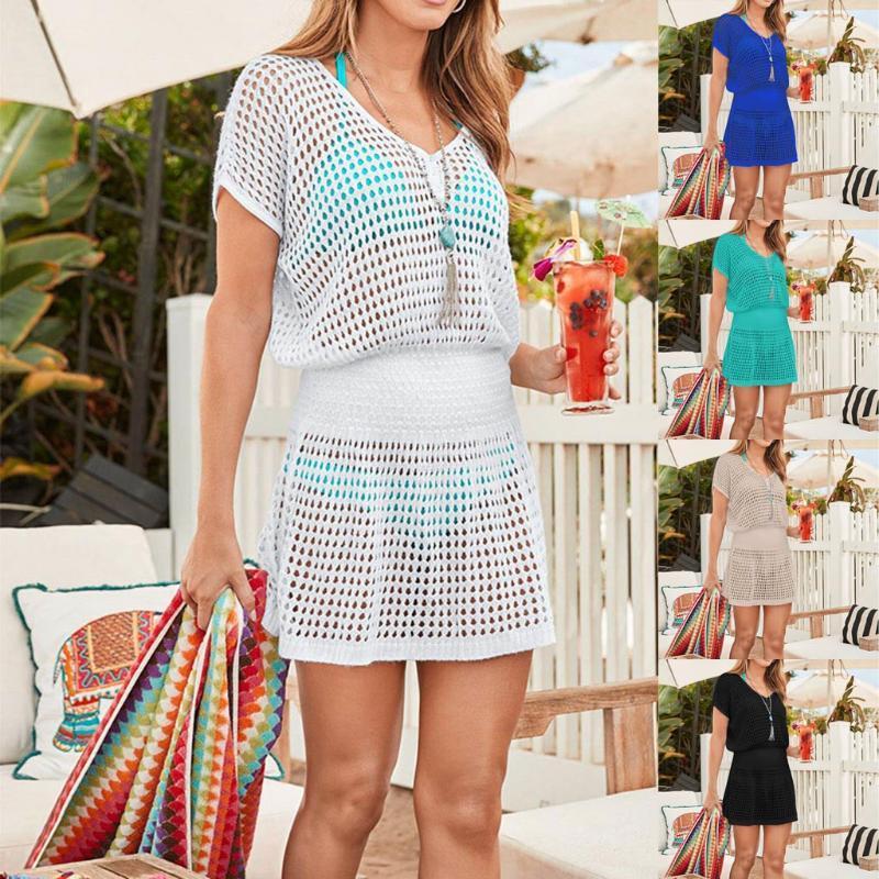 Lace Pullover Bikini Camicetta Beach Cover Up Crochet lavorato a maglia Donne New Bikini Swimsuit Swimwear Holiday Beach Dress X # 2